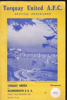 1961/62 TORQUAY UNITED V BOURNEMOUTH 22-12-1961 Division 3