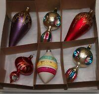 Vtg Glass Xmas Ornaments Set 6 FINIAL Triple Indents Tear Hand Painted European