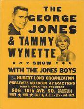 "Vintage 8 1/2 x 11"" Promotional Flyer: GEORGE JONES & TAMMY WYNETTE 60s Original"