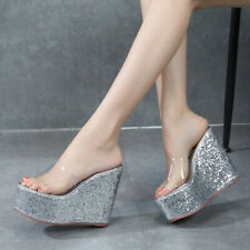 Ladies Wedge High Heels Clear Slippers Fashion Peep Toe Platform Shoes Sandals