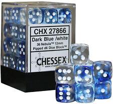 Chessex Dice (36) Block Sets 12mm D6 Nebula Blue w/ White Pips 36 Die CHX 27866