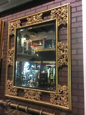 Incredible Large Gold Gilt Hand-Carved Wooden Mirror 51� X 43� Hollywood Regency
