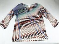 Chico's Top Blouse Shirt Size 1 Or Medium M 3/4 Sleeve Scoop Neck Multi Color
