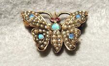 Antique Gold Butterfly Watch Pin ~ Butterfly with Ruby Opals Pearls ~ Sgnd.  BBB