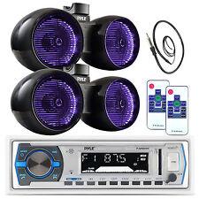 "2 Pyle Marine 6.5"" LED Tower Speaker Set, Bluetooth Pyle USB Radio, Antenna"