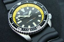 Vintage Seiko divers watch 7002 Auto Mod BLACK DIAL YELLOW CHAPTER RING K24.