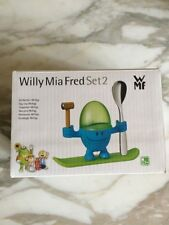 WILLY MIA FRED SET 2 novelty eggcup Cover Hammer Spoon on Stand