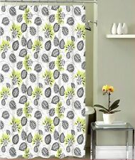 Decorative Floral Fabric Shower Curtain: Yellow Green Flowers with Gray Leaves