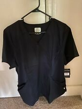 Luxe Sport by Cherokee Women's CK603 Mock Wrap Scrub Top - Black XL - NEW