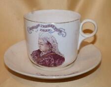 LARGE QUEEN VICTORIA DIAMOND JUBILEE COMMEMORATIVE CUP & SAUCER 1897