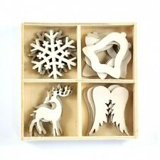 PACK 16 PRETTY WOOD CHRISTMAS EMBELLISHMENTS FOR CARDS OR CRAFTS (SET 1)