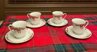 Set Of 4 POINSETTIA AND RIBBONS Holiday Tea COFFEE CUPS AND SAUCERS