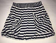 Maurices Bubble Skirt Juniors S Elastic Waist Navy Blue & White Stripes Pockets