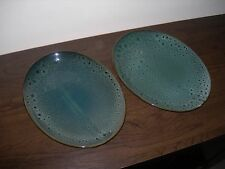 FOSTERS POTTERY CORNWALL ENGLAND 2 x SERVING PLATTERS PLATES GREEN OVAL SHAPE