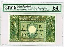 Italian Somaliland: 10 Somali 1950 Pick 13a PMG Choice Uncirculated 64.