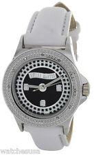 Swiss Master Women Round Silver-tone Case Black Black Dial White Leather Watch