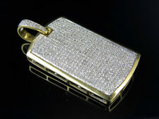 "10K Yellow Gold Dog Tag Genuine Diamond Pave Charm Pendant 2Ct 1.55"""