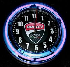"DUCATI MOTORCYCLES LOGO - 11"" Blue Neon Wall Clock"