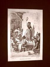 Incisione di Gustave Dorè del 1874 Gitana danzante Siviglia Spagna