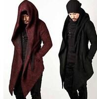 Korean Men's Chic Long Cape Cloak Wool Top Coat Hooded Jacket Outwear Size M-2XL