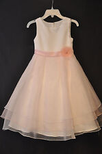 Flowergirl Pageant Alfred Angelo Sleeveless Satin & Organza White & Pink Size 6X