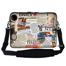 """17.3"""" Laptop Computer Sleeve Case Bag with Handle & Shoulder Strap Newspaper"""