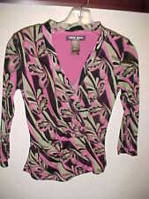 BISOU BISOU Knit Top Stretch Michele Boibot sz S Small ¾ Sleeve Nylon Lined