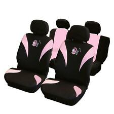 UNIVERSAL CAR SEAT COVER SET Pink Lady Bird Velour Washable Airbag Compatible