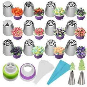 27Pc set Russian Flower Icing Piping Nozzle Decor Topper Cake Tips Baking Tools