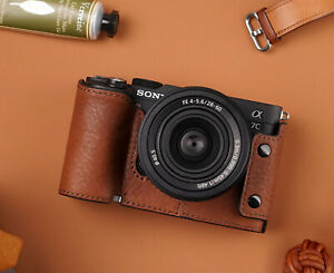 Genuine Real Leather Half Camera Case Bag Cover for Sony A7C