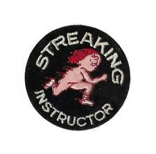 "Streaking Instructor Round Vintage Patch Collectible Humorous 3"" 1960s"