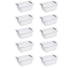Sterilite Medium Plastic Stackable Storage Organizer Basket, White (10 Pack)