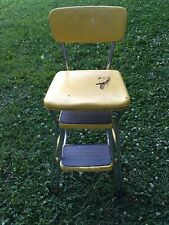 Vintage Cosco Step Stool Chair With Yellow Vinyl