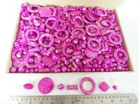 JOB LOT: One kilo (1 kg)  of Cerise/Gold Acrylic Beads - many shapes/sizes