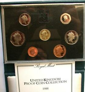 1988 UK United Kingdom Pence Proof 7 Coin Set Royal Mint