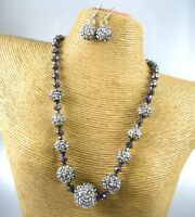 Elegant Crystal Beads Fashion Necklace Earrings Set Costume Women Jewelry