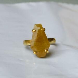 925 Sterling silver Gold Plated Yellow Sapphire Gemstone Prong Set Ring Unisex
