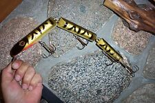 "VINTAGE WOODEN WOODY WACKER HUGE 15 3/4"" MUSKY LURE BY RAINBOW LURES GOLD FIRE T"