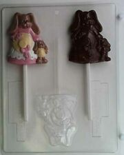 Easter bunny with dress and 1 baby bunny lollipop chocolate candy molds