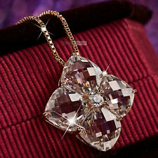 18k rose gold gp made withSWAROVSKI crystal pendant wedding party lady necklace