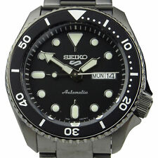 Seiko 5 Sports Black Dial Grey Stainless Steel Auto Mens Watch SRPD65K1