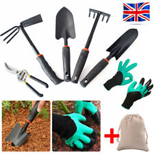 8PCS Gardening Tools Set Rake Fork Hoe Cultivator Trowel Kit Garden Gloves + Bag