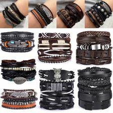 Fashion Handmade Punk Mens Cuff Bracelet Wristband Bangle Leather Wrap Braided
