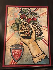 Shepard Fairey Imperial Glory Obey Show Card Signed Kaws Banksy Invader Supreme