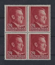 Mint Stamp block,  Adolph Hitler,  24GR,  MNH 1941 Issue,  Occupied Poland WWII