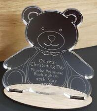 PERSONALISED CHRISTENING GIFT PRESENT TEDDY BEAR KEEPSAKE MIRROR PLAQUE BOY GIRL