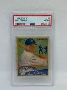 1934 GOUDEY- LOU GEHRIG #61- New York Yankees- PSA 2 WOW!