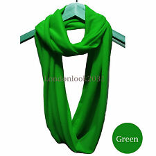Unisex  Plain Soft Jersey Soft Cotton Circle Infinity Light Snood Scarf Green