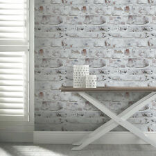 Whitewashed Wall Rustic Brick Arthouse VIP Feature Wallpaper 671100