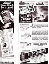 1939  Lot  (6) Fishing ads Pfluger Foss South Bend Creek Chub more Cabin Art